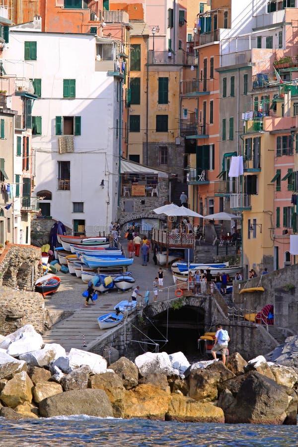 Riomaggiore Village. Riomaggiore, Italy - October 03, 2009: Small Fisherman Village With Colorful Houses in Riomaggiore, Italy stock image