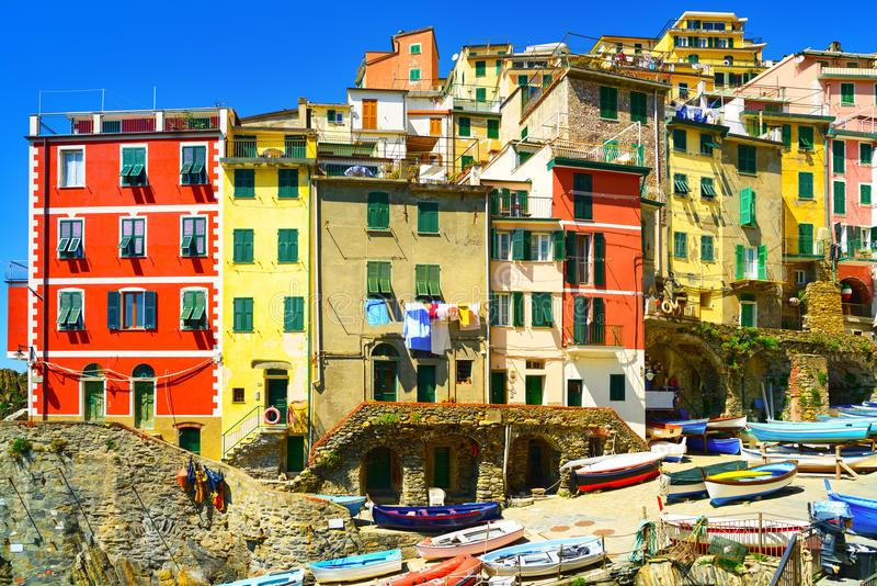 Riomaggiore village street, boats and houses. Cinque Terre, Ligury, Italy royalty free stock photography