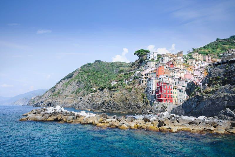 Riomaggire, Italië, de Provincie van La Specia, Ligurië Regione, augus 08 stock foto's