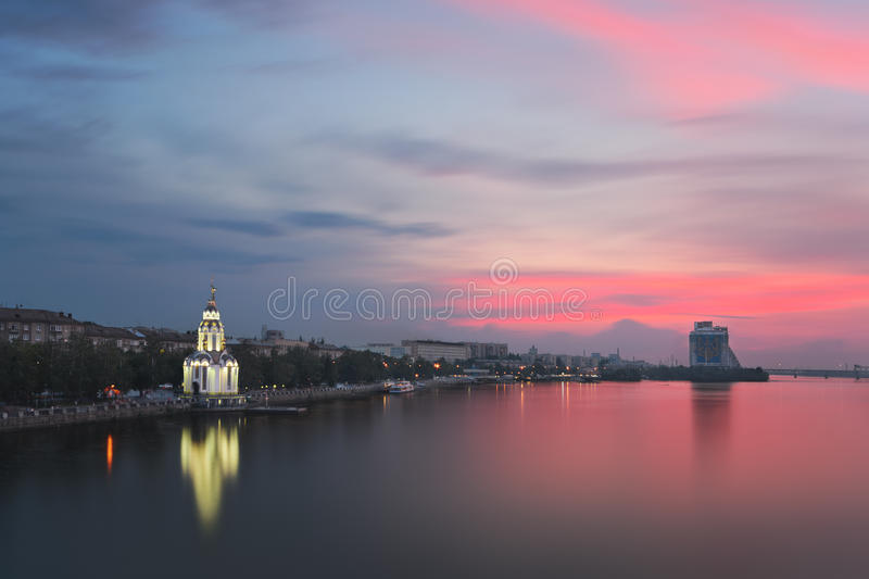 Riot of colors. Majestic colorfull sunset in the Dnipropetrovsk. Ukraine stock photography