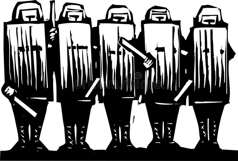 Riot Police. Line of riot police with batons and shields stock illustration