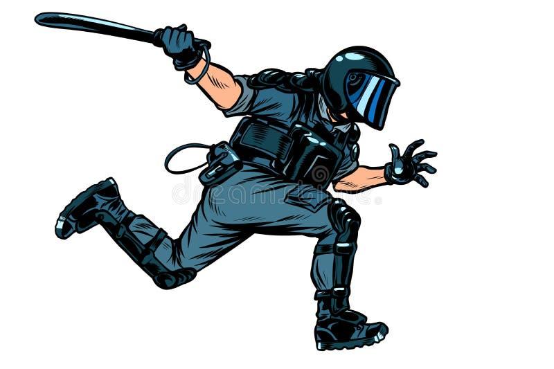 Riot police with a baton. Pop art retro vector illustration drawing vector illustration