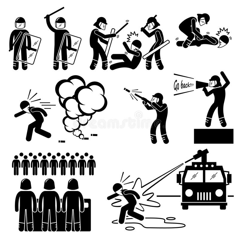Riot Police Cliparts. A set of human pictogram representing the ways of riot police controlling rioters. It includes beating, arrest, tear gas, and water cannon vector illustration