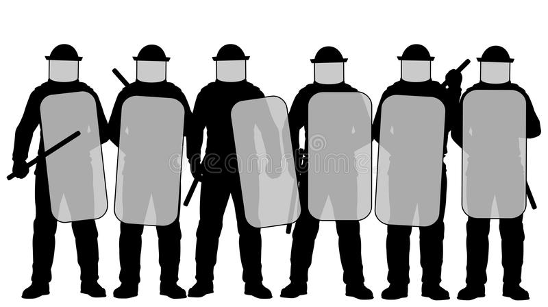 Riot police. Editable vector illustration of a group riot police with protective gear and shields royalty free illustration