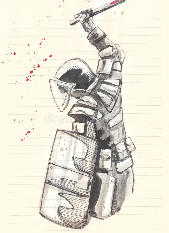 Riot police. Hand drawn illustration of a riot police man with equipment as helmet, club and shield vector illustration