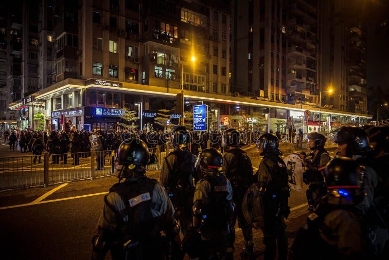 Hong Kong Protests Riot police make arrests in Cuaseway bay stock image