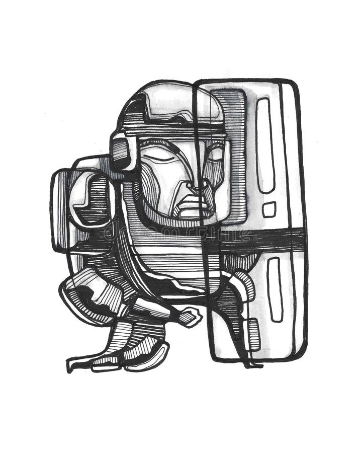 Riot police man with equipment. Hand drawn illustration or drawing of a riot police man with shield and helmet stock illustration