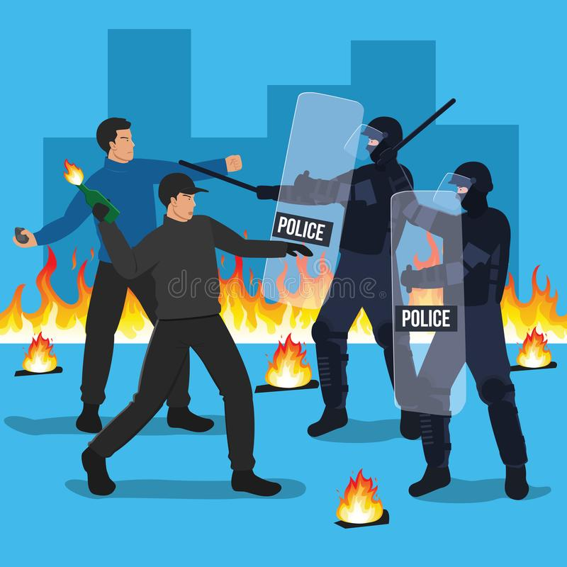 Riot Police Officers Clash with Protesters. Demonstration, protest concept illustration vector illustration
