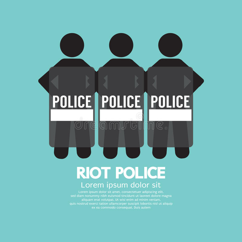 Riot Police Standing With Shield vector illustration
