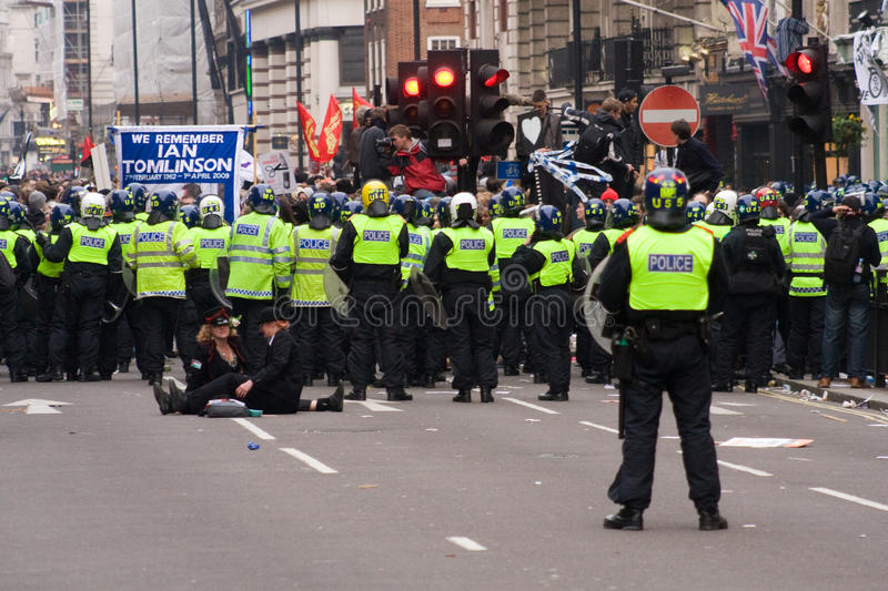 Riot police on the streets of London royalty free stock images