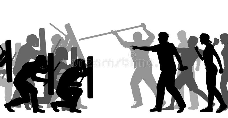 Riot police under attack. Editable vector cutout illustration of riot police and an angry mob royalty free illustration
