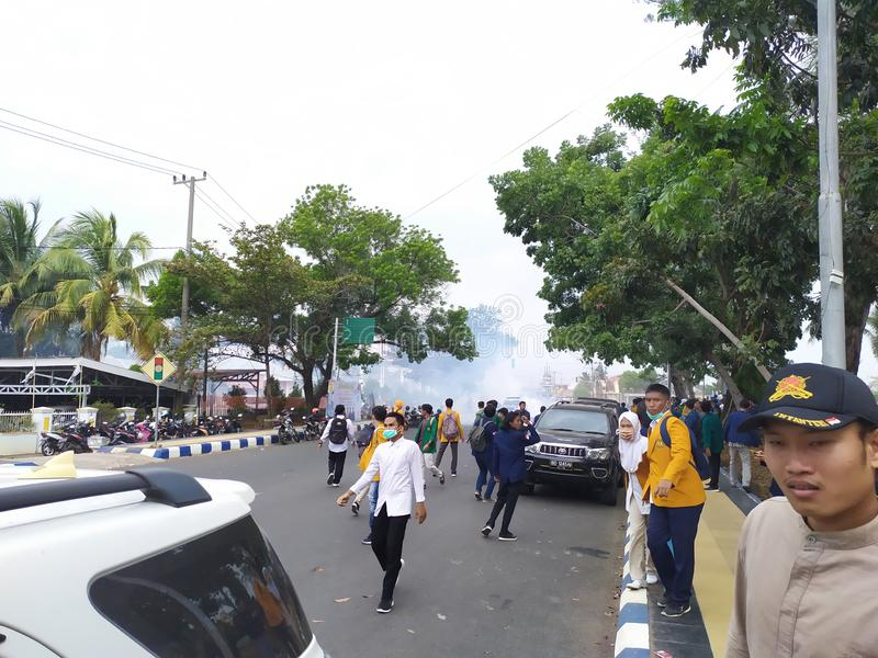 Riot situation reject RKUHP.  incident in Bengkulu, Indonesia.  this photo was taken on Tuesday September 24 2019. Riot situation reject rkuhp.  incident in royalty free stock photo