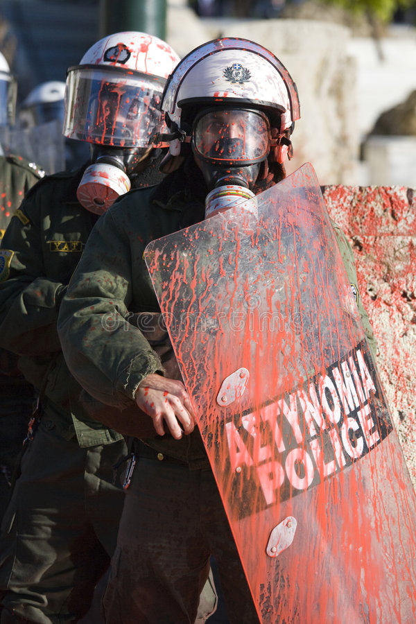 Riots in athens 18_12_08 stock images