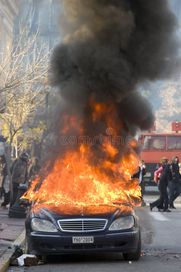 Riots in athens 18_12_08 royalty free stock photo