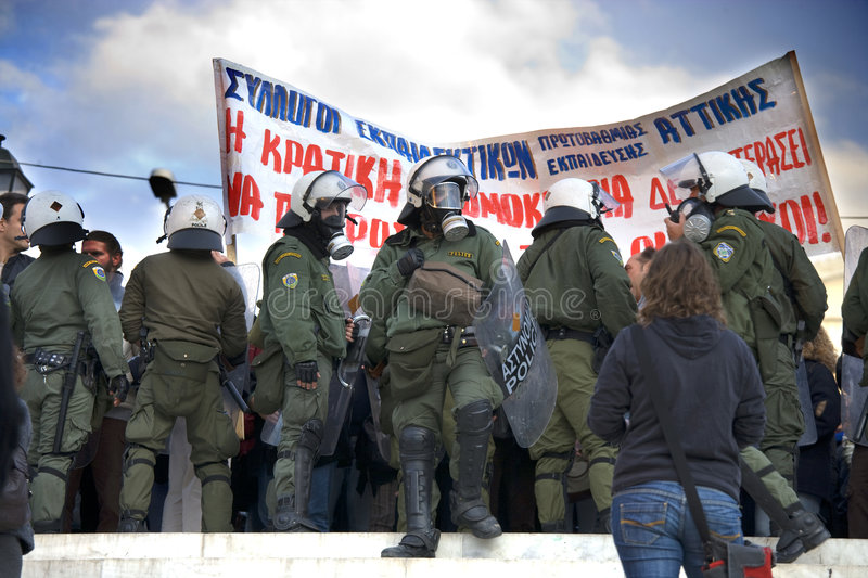 Riots In Athens Editorial Photography