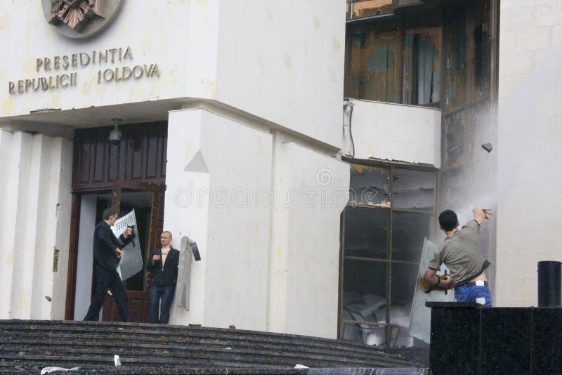 Riots in Moldova stock photos