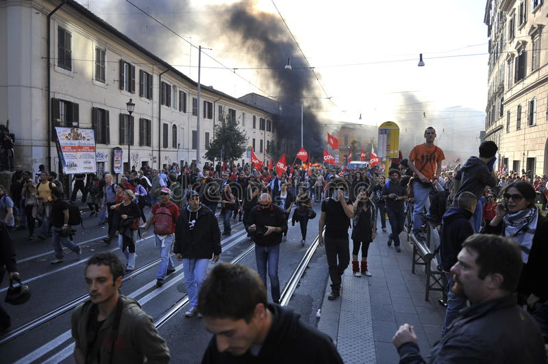 Download Riots In Rome - Italian Students Protest Editorial Photo - Image of austerity, autonomen: 21610196