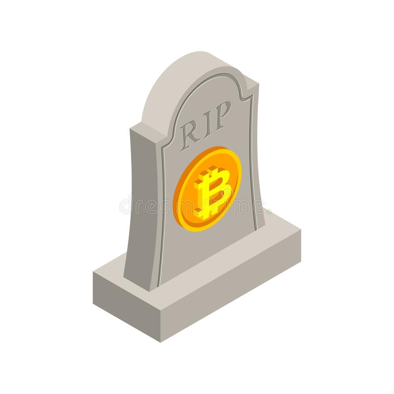 RIP bitcoin death. Tombstone for cryptocurrency. Gravestone electronic money. grave Memorial Virtual cash royalty free illustration