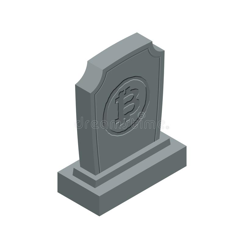 RIP bitcoin death. Tombstone for cryptocurrency. Gravestone electronic money. grave Memorial Virtual cash stock illustration