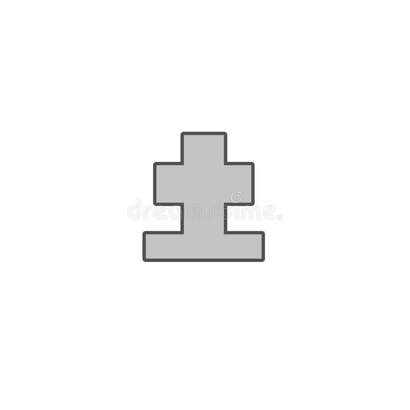 RIP cemetary gravestove crucifix icon isolated on background. RIP cemetary gravestove crucifix icon isolated on background stock illustration