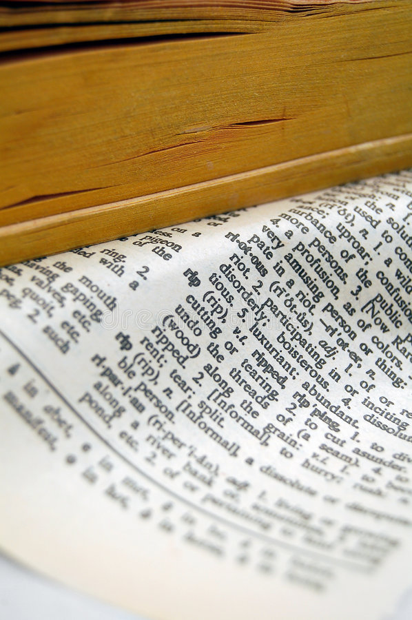 Rip dictionary page stock images
