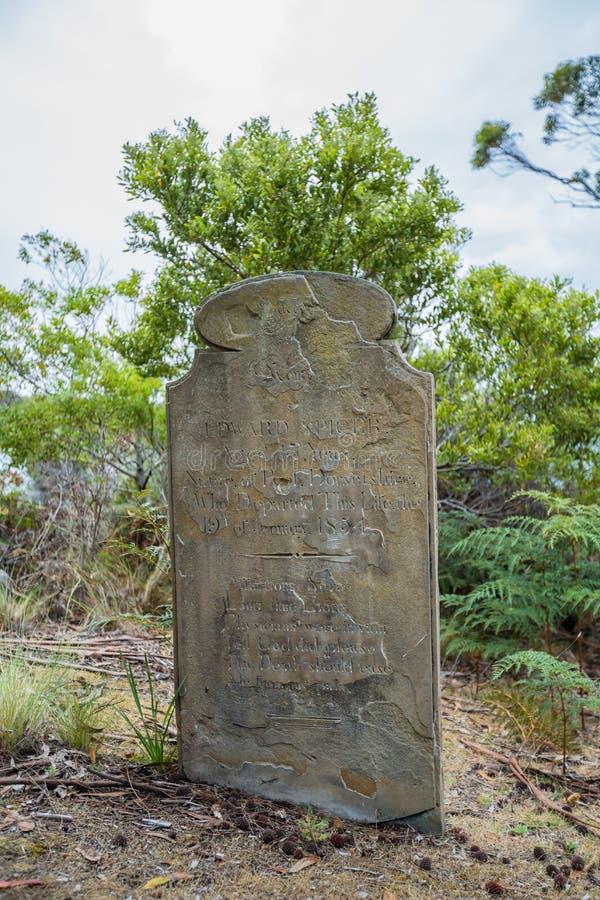 Rip Halloween tombstone. Old tombstone in the Isle of the Dead located in the harbor off Port Arthur, Tasman Peninsula, Tasmania, Australia stock photos