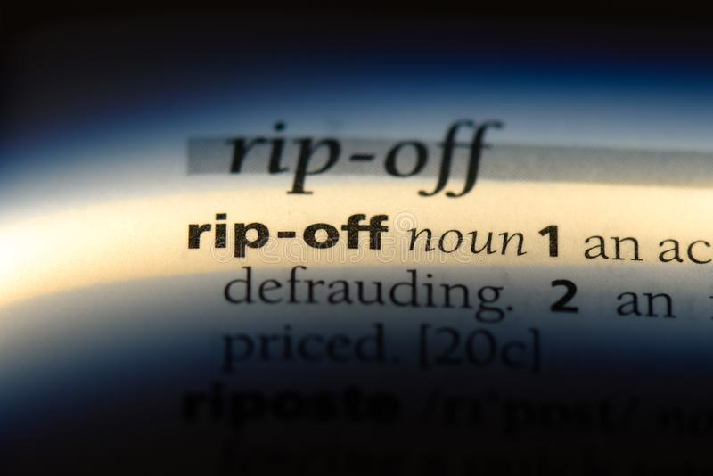 Rip off. Word in a dictionary.  concept stock photography