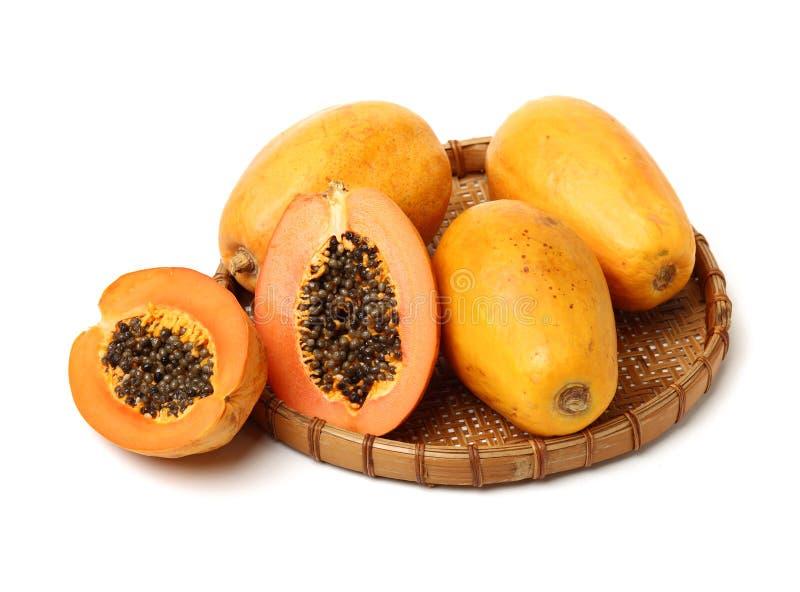 Rip papaya. Isolated on white background stock photography