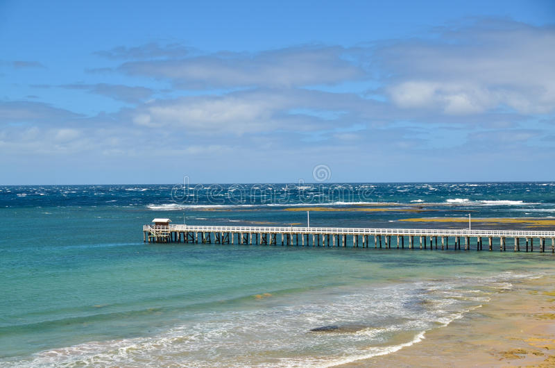 The Rip. Point Lonsdale jetty juts out into Port Phillip Bay after The Rip which is the narrow entrance to the bay from Bass Strait royalty free stock photography