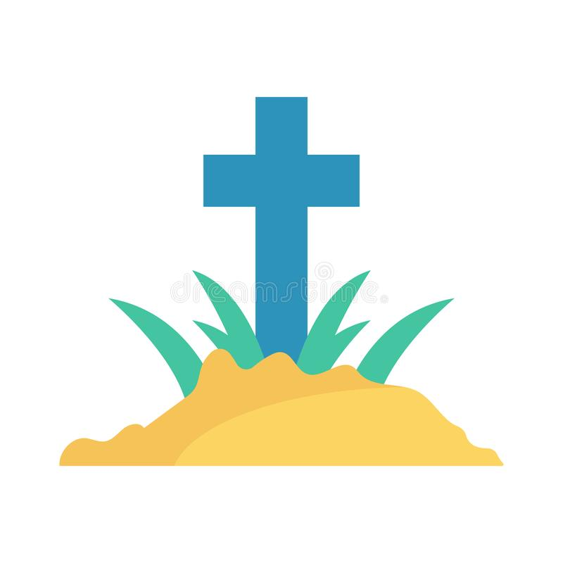 Rip. Grave coffin flat icon vector illustration