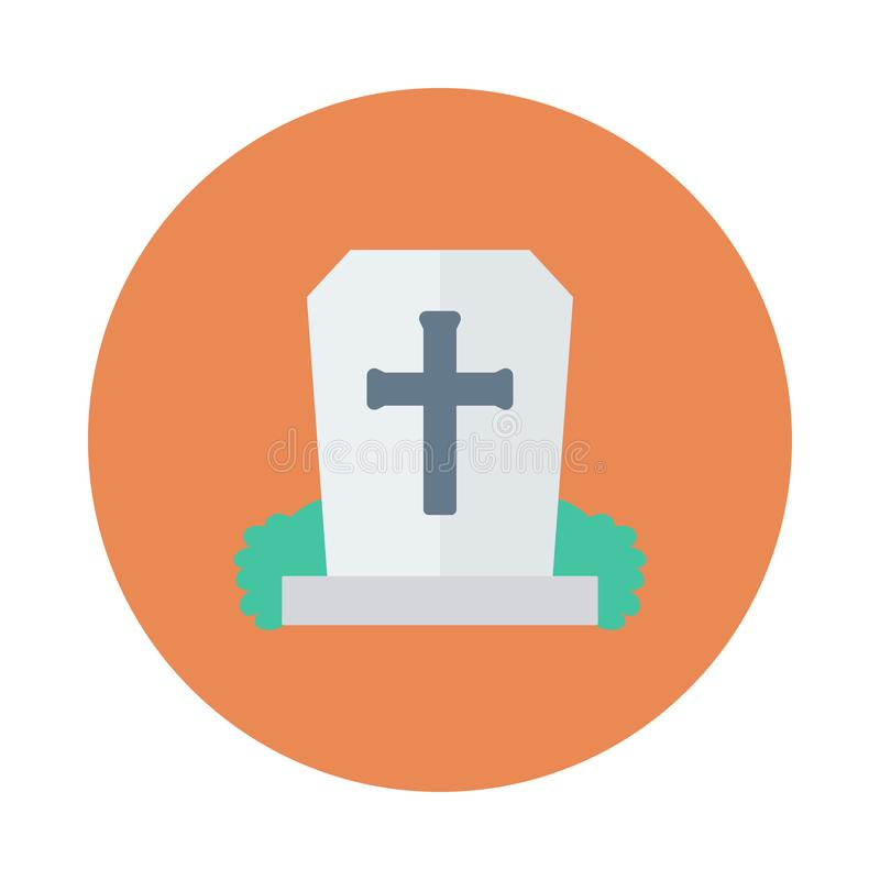 Rip. Grave flat circle icon royalty free illustration