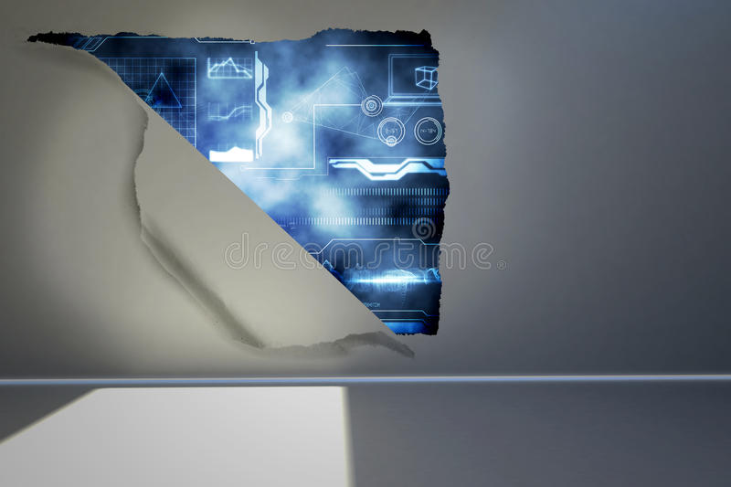 Rip on wall showing interface. Rip on wall showing technology interface vector illustration