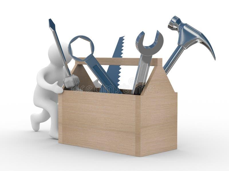 Riparatore con lo strumento su una priorità bassa bianca. illustrazione di stock