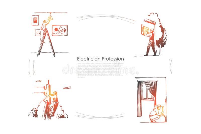 Riparatore, ingegnere che cambia lampadina, installazione di sistema elettrico, scatola elettrica che ripara insegna illustrazione vettoriale