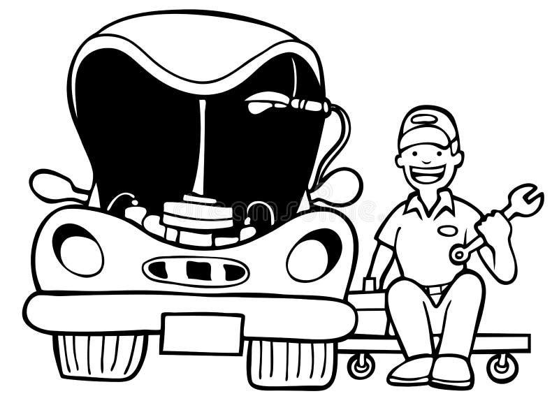Riparazione automatica - in bianco e nero illustrazione vettoriale