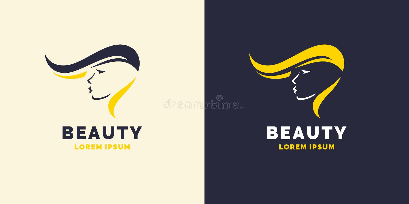 Riparazione dei capelli e logo luminoso per il negozio di barbiere Siluetta di una ragazza per un salone di bellezza illustrazione di stock