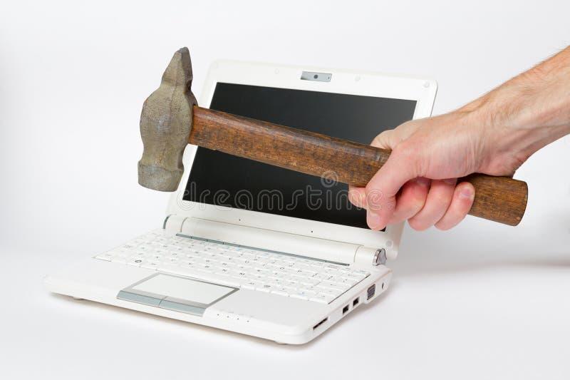 Riparazione del PC dal martello immagini stock libere da diritti