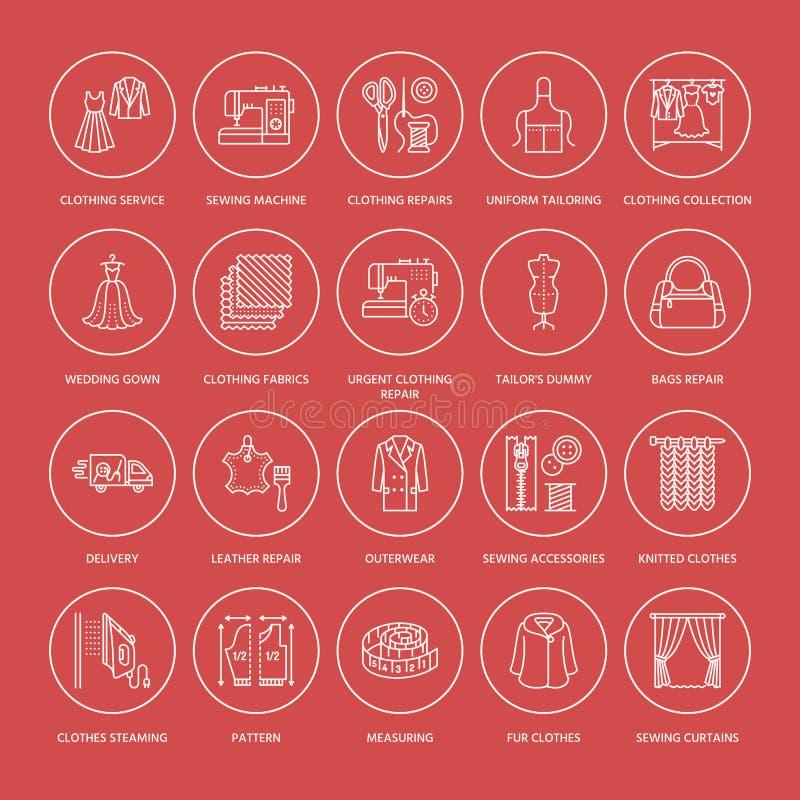 Riparazione dell'abbigliamento, linea piana icone di alterazioni messe Adatti i servizi del deposito - la sartoria, i vestiti che illustrazione vettoriale