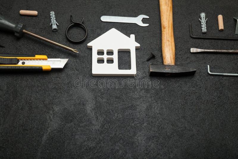 Riparazione dell'appartamento, concetto della costruzione della casa Copi lo spazio per testo fotografia stock libera da diritti