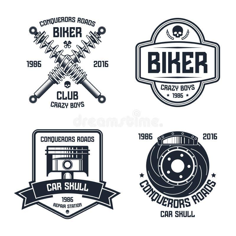 Riparazione dell'automobile ed emblemi del club del motociclista illustrazione di stock