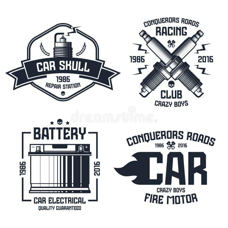 Riparazione dell'automobile ed emblemi di corsa illustrazione di stock