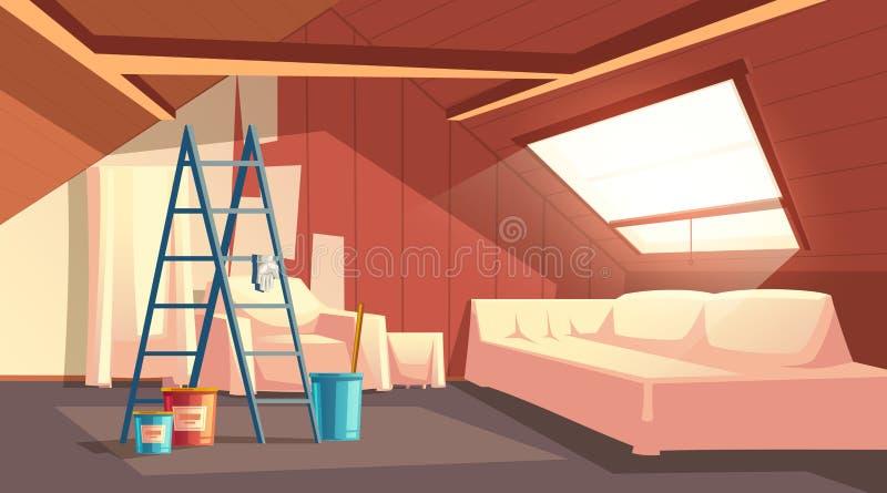 Riparazione della soffitta di vettore Rinnovamento della soffitta, sottotetto illustrazione vettoriale