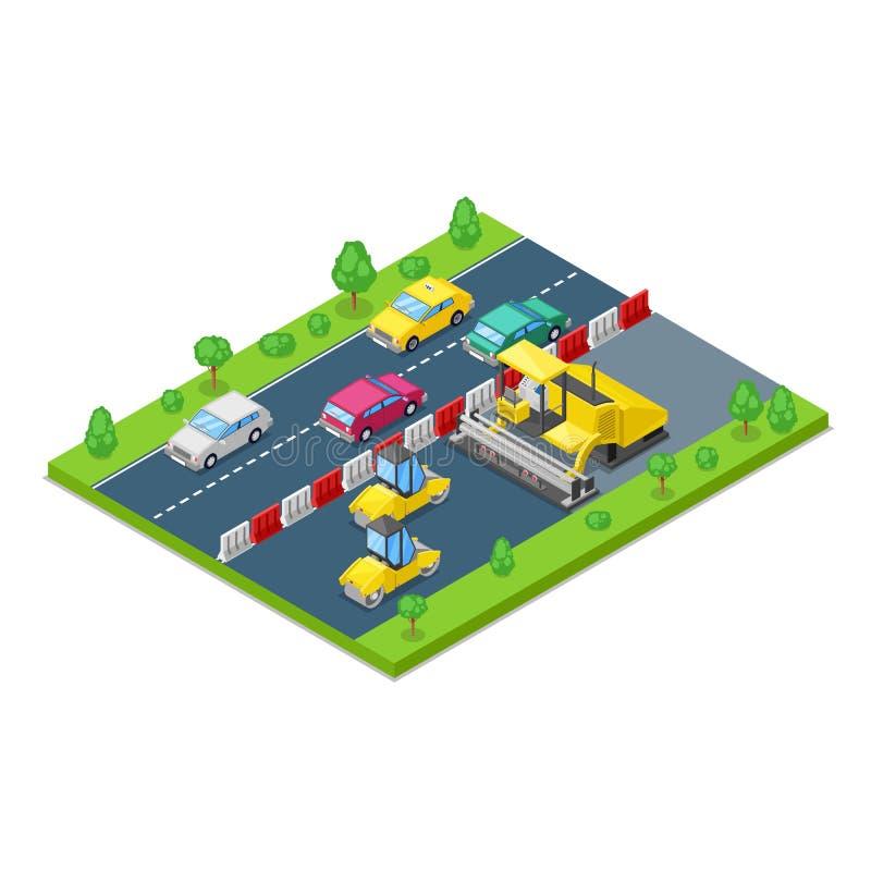 Riparazione della strada e concetto della costruzione Illustrazione isometrica di vettore 3d Macchina di pavimentazione dell'asfa royalty illustrazione gratis