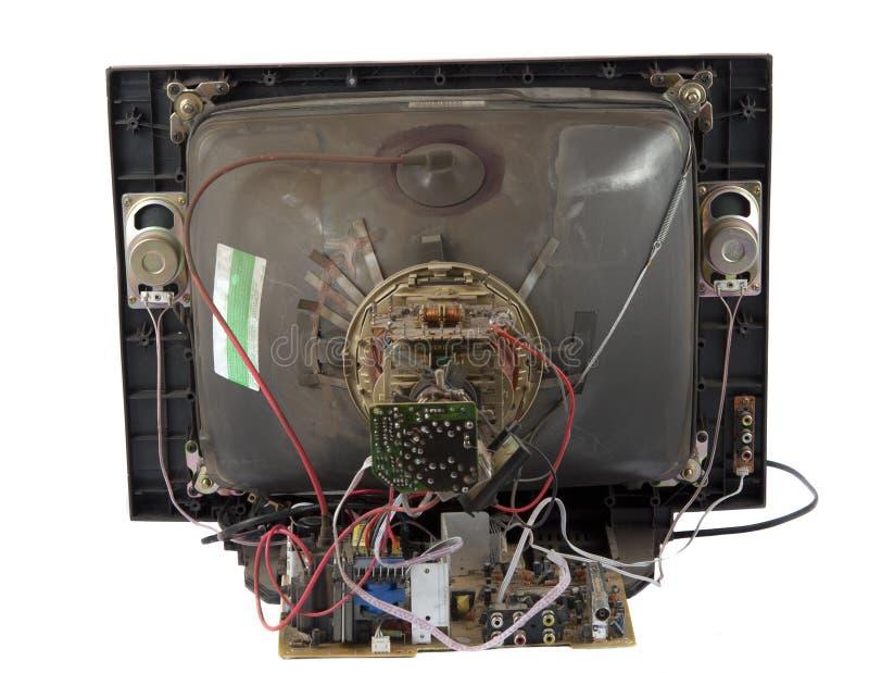 Riparazione di vecchia TV isolata fotografia stock