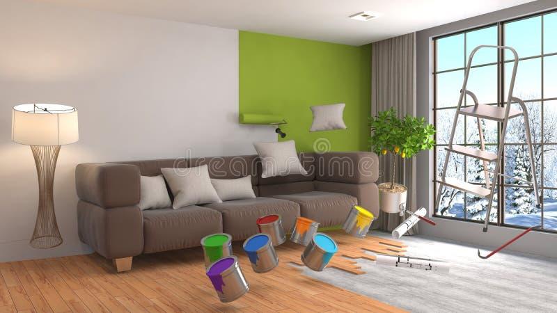 Riparazione e pittura delle pareti nella sala illustrazione 3D illustrazione di stock