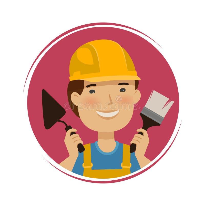 Riparazione, logo della costruzione Costruttore felice con gli strumenti in sue mani Illustrazione di vettore del fumetto illustrazione di stock