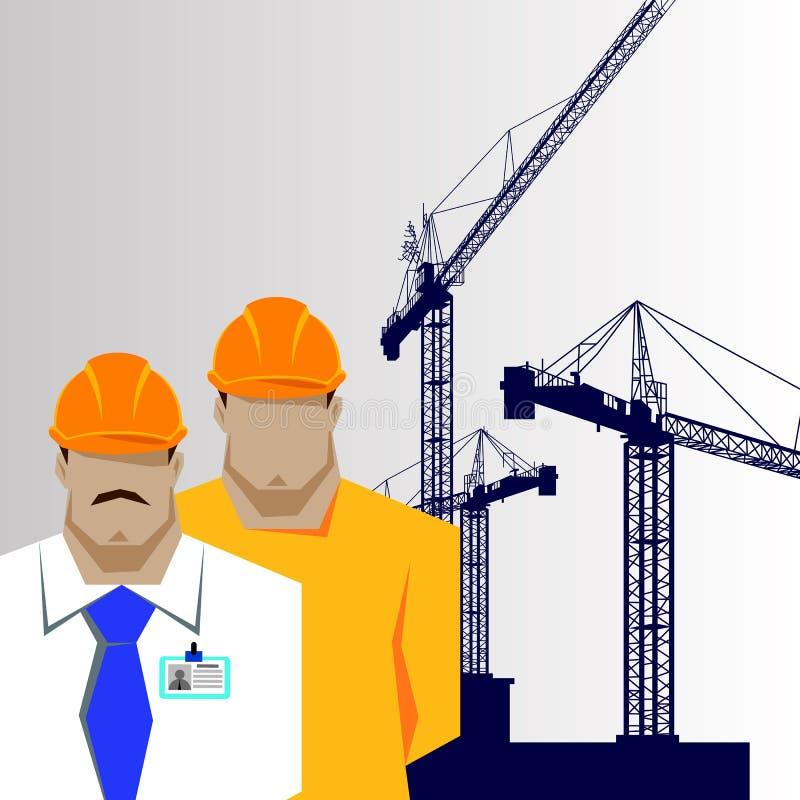 Riparazioni, costruttore della costruzione in casco giallo che lavora con differenti strumenti engineer illustrazione di stock