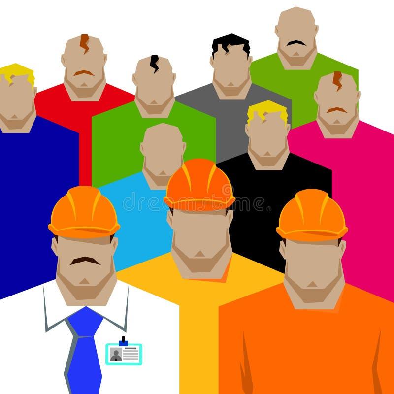 Riparazioni, costruttore della costruzione in casco giallo che lavora con differenti strumenti engineer Operaio illustrazione vettoriale