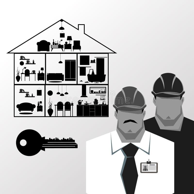 Riparazioni, costruttore della costruzione in casco giallo che lavora con differenti strumenti engineer Operaio illustrazione di stock