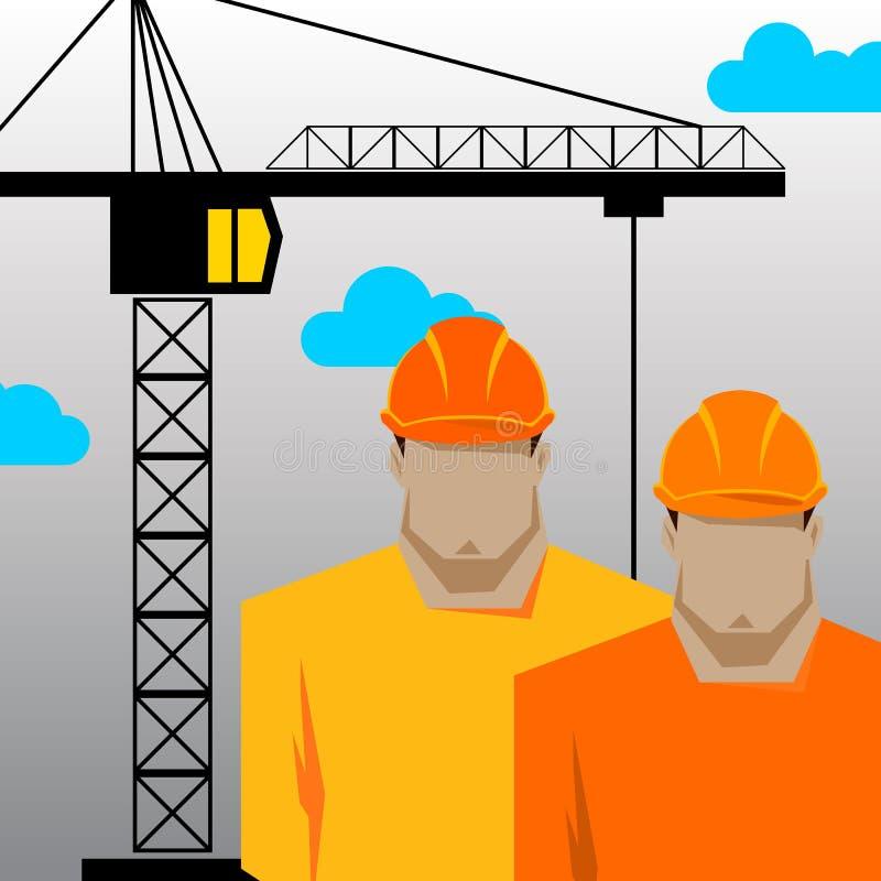 Riparazioni, costruttore della costruzione in casco giallo che lavora con differenti strumenti engineer Operaio Illustrazione pia illustrazione di stock